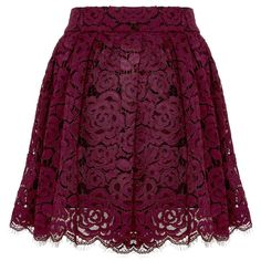 Fizer Pleated Lace Skirt (385 CAD) ❤ liked on Polyvore featuring skirts, mini skirts, saia, floral mini skirt, lace skirt, purple skirt, pleated skirt and short skirts