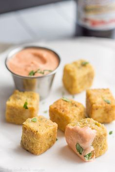 """Tofu """"Chicken"""" Nuggets with Sriracha Mayo 