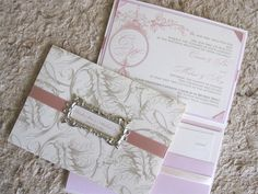 Beautiful Pink and Champagne/Gold wedding invitation.  Perfect for Romantic and classic wedding. Design by I Do Concepts.  www.idoconcepts.com