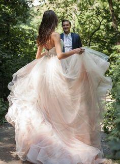 Romantic Blush Wedding Dress || Kelly Faetanini