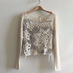 | Free People Sweater Beautiful cream and gray long sleeve see through knit sweater.  100% cotton.  In great condition. Free People Sweaters