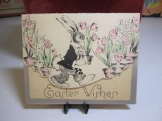 1930's art deco die cut silver gilded easter card by puffadonna