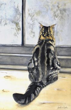Exist? asian print cat looking out window