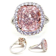 OH. MY. GOSH. SO uniquely beautiful and kinda antique-y. #pink #diamond #engagement