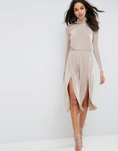 """High Neck Slinky Double Split Dress by Asos. """"""""Dress by ASOS Collection, Slinky stretch fabric, Smooth finish, High neck, Stretch waistband, Split-panel front, Cut-out back, Button-neck fastening, Slim fit - cut close to the body, Hand wash, 95% Polyester, 5% Elastane, Our model we... #asos #dresses"""