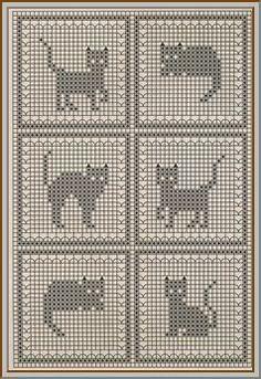 Cross Stitch Patterns Free - Knittting C - Diy Crafts - Marecipe Filet Crochet Charts, Knitting Charts, Cross Stitch Charts, Cross Stitch Designs, Cross Stitch Patterns, Crochet Cat Pattern, Crochet Stitches Patterns, Baby Knitting Patterns, Embroidery Patterns