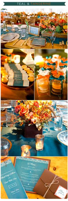 love the teal and tangerine color scheme for Thanksgiving