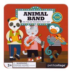 Magnetic Dress Up Dolls - Animal Band by Petit Collage Collage, Create Your Own Character, Printed Magnets, Bee Gifts, Travel Toys, Non Toxic Paint, Dress Up Dolls, Imaginative Play, Love Painting