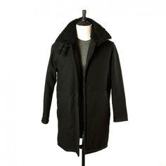 B3 coat with faux shearling collar, Black wool mix | No Man Walks Alone