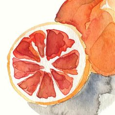 """This is an archival art print of my original watercolor painting """" Blood orange study"""".  The origianal was sold. The colors are so vibrant with the orange outside and the deep Red/salmon color inside.  Don't forget to eat one a day :-); it is full with vitamin C.  The first Photo is detail, see the full painting in the last Photo.  Limited edition of 50."""