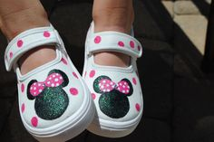 MINNIE MOUSE SHOES hand painted shoes. $40.00, via Etsy. _ I CAN DO THIS!!!!  These shoes are at Hobby Lobby! :)  YAY!!!