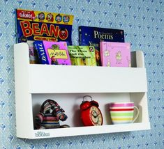 Tidy Books Bunk Bed Buddy White Bedside Storage for Kids Wall Shelf