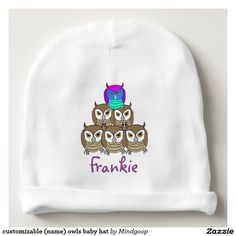 customizable (name) owls baby hat baby beanie