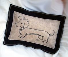 Hand-embroidered Dachshund Pillow