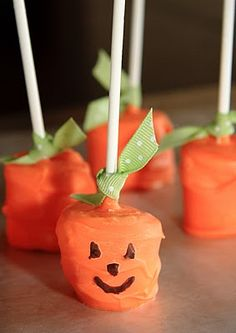 Halloween classroom treats: chocolate covered marshmallow treats.