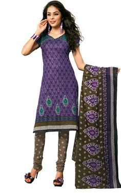 PURPLE & MEHENDI GREEN COTTON SALWAR KAMEEZ - DISH 1015