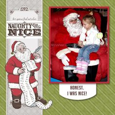 Naughty or Nice/Santa scrapbook layout using My Digital Studio software from Stampin' Up!