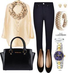 Andrea Moda y Asesoría: Blusa crema Pantalón Azul osc. FW 15-16