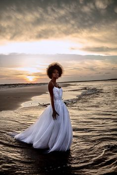 Late in the day, dramatic sky and the dress she's wearing for the party.