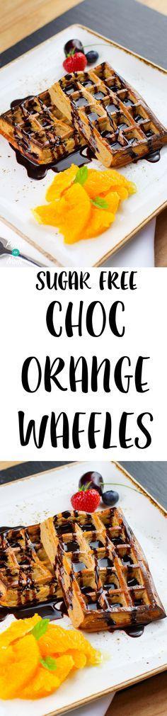 Sugar Free Chocolate & Orange Waffles   Pinchofnom.com
