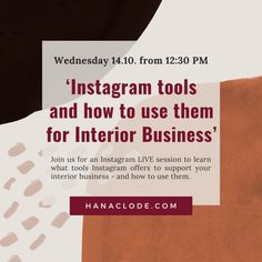 Posts, Stories, IGTV, IG Live, Reels, DMs, … enough choices to make your head spin. Whether you are a complete beginner or an Instagram PRO, join us tomorrow for a free #InteriorMarketing IG LIVE session at 12:30 pm. I will be breaking down different Instagram formats and how you can use them to promote your interior brand 🛋️. I will be sharing some content ideas and tips on how you can boost your content's reach which we use in our marketing agency. Marketing Program, Marketing Tools, Instagram Accounts, Instagram Posts, Business Goals, First They Came, Get Over It, Being Used, Join