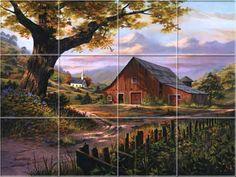 Country - Rustic - Farm - Sunday's Best Kitchen Backsplash Tile Murals