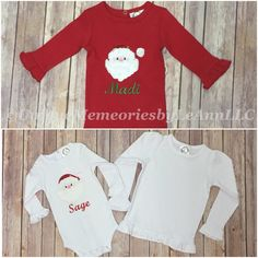 Infant, Toddlers and Girls Christmas Ruffle Shirt Santa appliqué with 2 color options of either Red or White shirt, FREE Name/Monogram!! by UniqueMemoriesLeAnn on Etsy