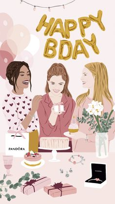 Collaboration with PANDORA creating illustrations inspired in the Bridal and Birthday collections for digital channels . Happy Birthday Art, Happy Birthday Wishes Cards, Digital Illustration, Graphic Illustration, Graphic Art, Portrait Illustration, Grafik Design, Aesthetic Art, Cartoon Art