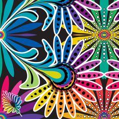 Rainbow Feather Kaleidescope fabric by mainsail_studio on Spoonflower - custom fabric