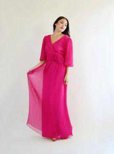 Hot Pink Miss Elliette Pleated Maxi Dress Vintage by empressjade, $135.00