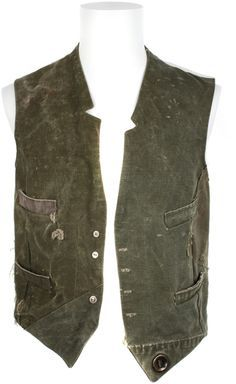 Greg Lauren Green Vintage Military Canvas Gilet