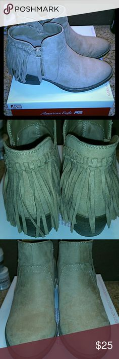 American Eagle Fringe Ankle Booties by Payless Super cute, stylish and comfy ankle booties! Extremely versatile when it comes to pairing the perfect outfit. Looks great with skinny jeans, skirts, shorts and leggings. These have been gently used and in AMAZING condition. I just don't use them enough. American Eagle by Payless Shoes Ankle Boots & Booties