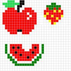 Fruits (Apple, Strawberry, Watermelon) - Free Hama Perler Bead Pattern or Cross Stitch Chart
