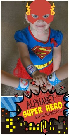 FREE Alphabet Super Hero Cuffs - this is such a fun idea for toddler, preschool, and kindergarten kids for a letter of the week type curriculum to reinforce the alphabet letter kids are learning that week. Lots of creative games to play with these alphabet printables included. LOVE THIS!