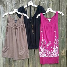 H & M Bundle - 3 pieces - Medium 3 pieces total Khaki H & M top - Cute and fun, pocket front! Black H & M top - Dress it up or down! Ties around neck. Raspberry H & M shirt dress - Flirty fitting tank dress!  All sized Medium H&M Tops