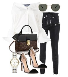 """""""Untitled #21128"""" by florencia95 ❤ liked on Polyvore featuring Unravel, Jacquemus, Ray-Ban, Gianvito Rossi and Burberry"""