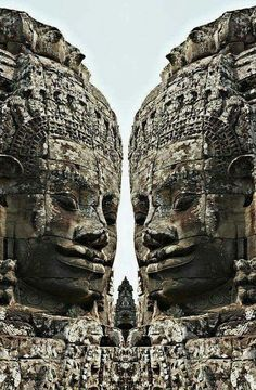 Angkor Wat, giant faces in the bayon temple - Cambodia.
