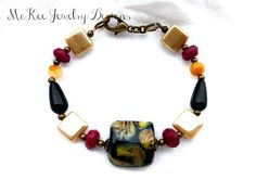 Stone, Czech glass and lampwork glass bracelet.