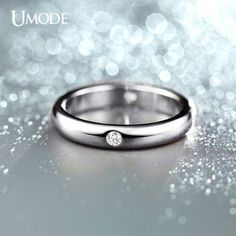 UMODE Burnish 4 Pieces CZ Crystal Flush Setting Wedding Band Ring for Women Silver Color Jewelry Rings Anel Masculino JR0139B