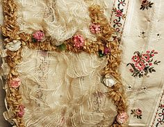 Ball gown dress Robe a la Francaise 18th century fashion circa from British, England in 1760-1770. #Historical #Costume made from woven silk brocade with chenille flower floral embroidered, lace tulle, garland trim, millinery flower and ruffle frills. Flounce sleeves with matching stomacher. Skirt open at the front and away from the waist towards the sides with stunning embelishment trimming sew into the shape of more #flower #garland and #leaves on the robe . #Baroque #Rococo #Vintage…