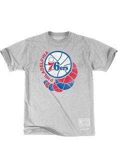 becb5b9b2 Mitchell and Ness Philadelphia 76ers Grey 76.0 Short Sleeve Fashion T Shirt  - 5650067