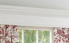 Use poplar boards and primed-pine crown molding to create a custom wood valance Window Cornice Diy, Wood Valance, Window Cornices, Design Furniture, Plywood Furniture, Chair Design, Modern Furniture, Valances & Cornices, Gypsy Curtains