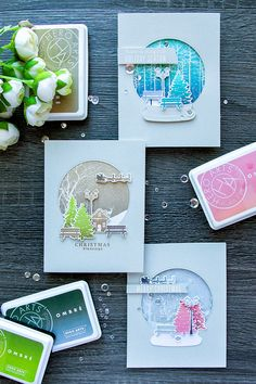 Create beautiful ombre snowglobe cards with Hero Arts October 2016 My Monthly Hero Kit. For details visit http://www.yanasmakula.com/?p=55380