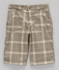 Light Gray & Beige Plaid Shorts - Boys #zulily #zulilyfinds