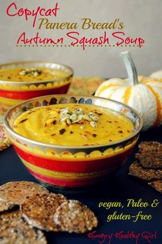Autumn Squash Soup, my favorite meal from Panera Bread! A tasty soup with lovely Fall flavors! I love copycat recipes and this one is vegan, gluten-free, paleo, dairy-free! Fall Recipes, Whole Food Recipes, Soup Recipes, Vegan Recipes, Cooking Recipes, Chicken Recipes, Recipies, Diet Recipes, Vegan Soups
