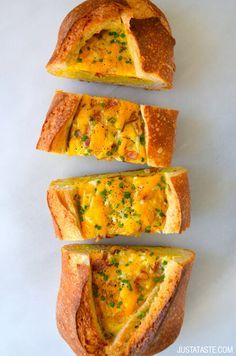 Video: Cheesy Baked Egg and Bacon Boats | recipe via justataste.com