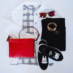 When you build out your fall wardrobe, consider nabbing these red, black and white pieces for your collection. This red cross-body clutch is perfect for a casual night out and our white denim jacket goes great with almost anything.