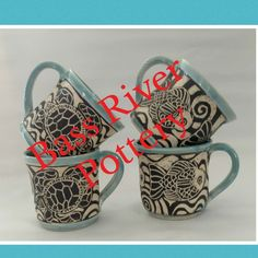 Sgraffito mugs, fish and turtles Sgraffito, Turtles, Bass, Pottery, River, Tableware, Tortoises, Ceramica, Flat