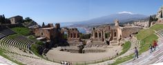 This is the view at the Greek Theatre in Taromina Sicily.   I loved to visit Taromina just to sit for a few minutes and enjoy the view.  #taormina  #taormina #sicilia #sicily