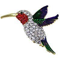 Flying Hummingbird Brooch Multicolor Sparkling Crystals